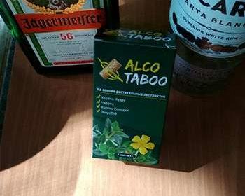 АлкоТабу на фоне спиртных напитков